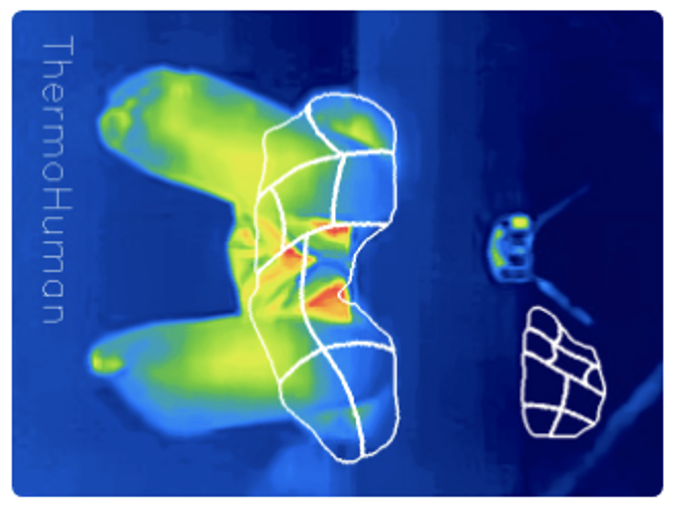 El software ThermoHuman intenta reconocer los pies como si estuvieran en posición horizontal, pero están en posición vertical. Conclusión: ¡desastre!